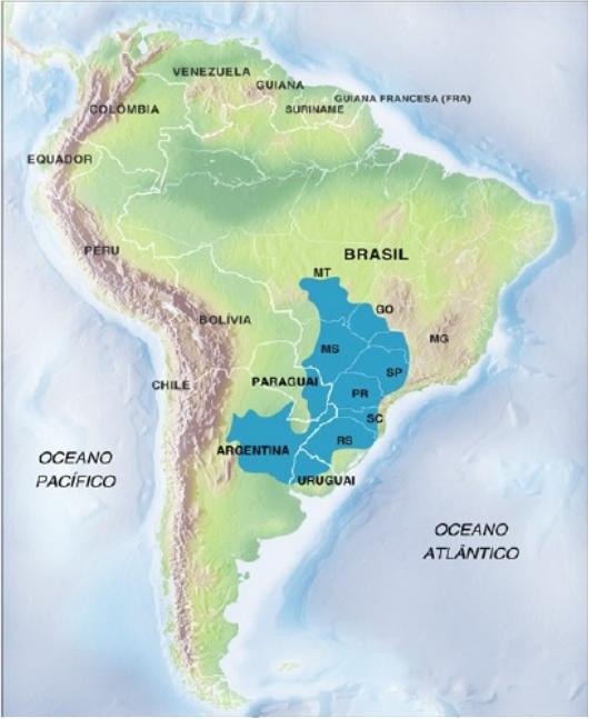 Mapa esquemático do Aqüífero Guarani