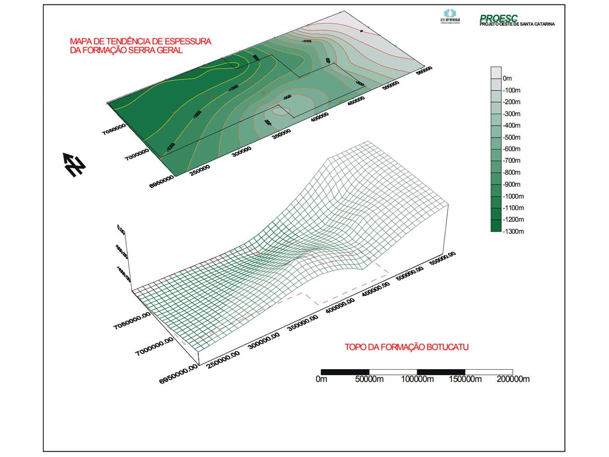 Mapa de Tendência de Espessura da Formação Serra Geral